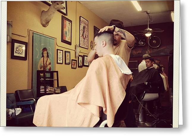 Barber Shop Greeting Card by Todd Cutter