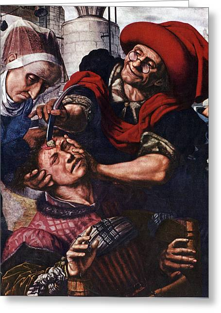 Barber-surgeon Treating Head Injury Greeting Card by Science Source