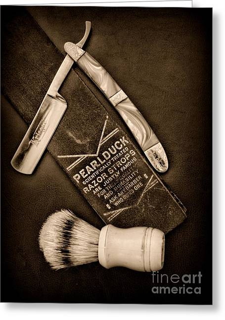 Barber - Tools For A Close Shave - Black And White Greeting Card by Paul Ward