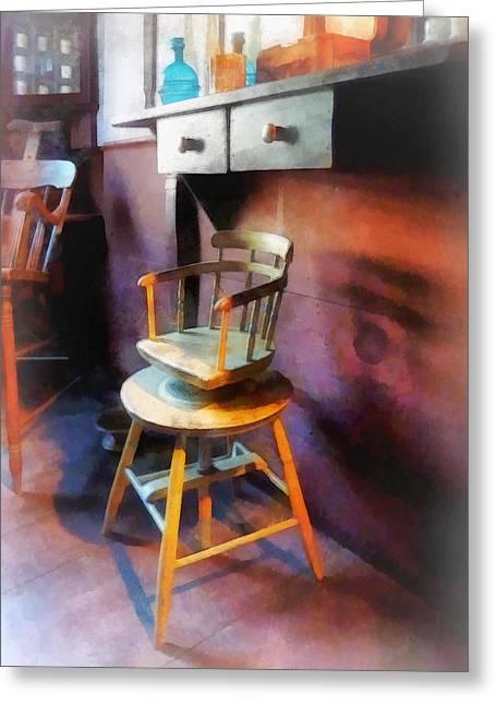 Barber - Vintage Child's Barber Chair Greeting Card by Susan Savad