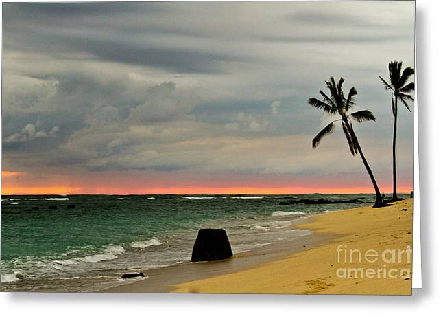 Barbers Point Sunset Greeting Card by Terry Cotton