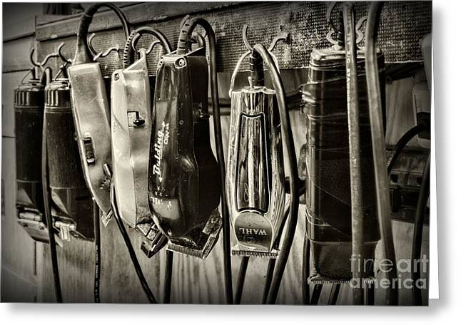 Barbershop Clippers In Black And White Greeting Card