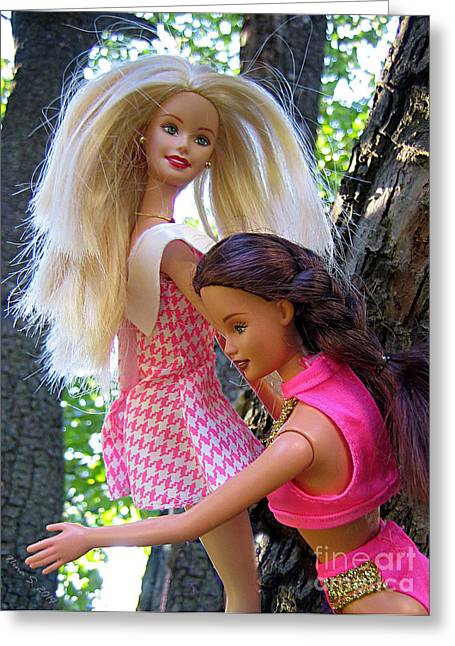 Greeting Card featuring the photograph Barbie's Climbing Trees by Nina Silver