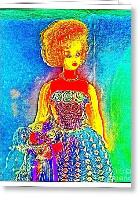 Barbies Friend Midge As A Pop Art Bride Greeting Card