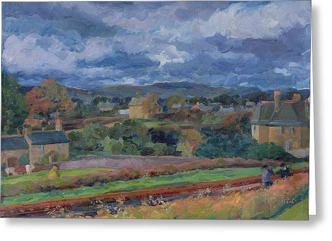 Barbon From The Railway Line Autumn Greeting Card