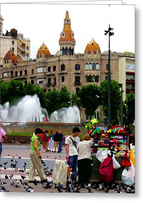 Barcelona - Abstract - Plaza De Catalunia Greeting Card by Jacqueline M Lewis