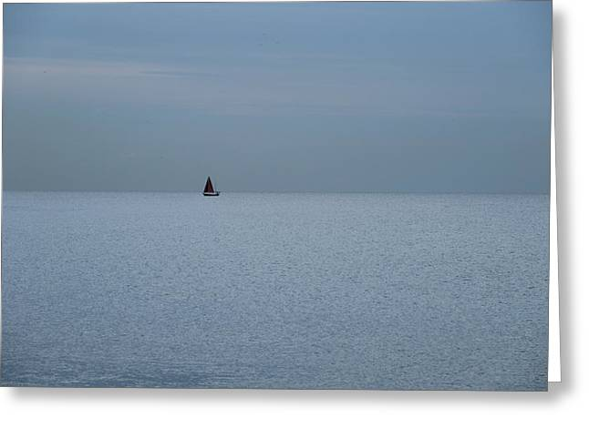 Lonely Boat In Barcelona  Greeting Card