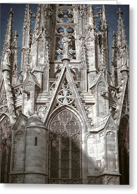 Barcelona Cathedral Spires Greeting Card by Joan Carroll