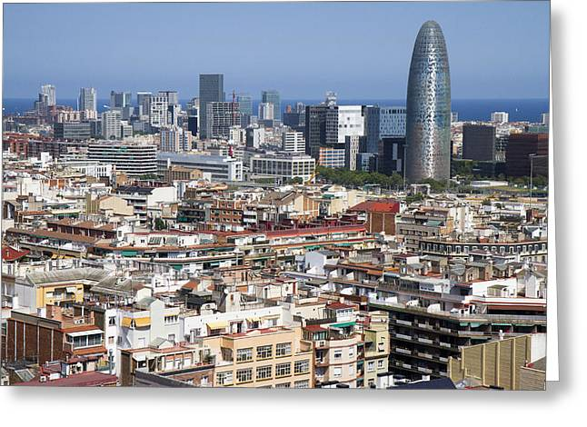 Greeting Card featuring the photograph Barcelona Cityscape by Nathan Rupert
