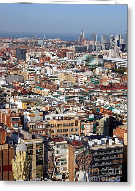 Barcelona Cityscape  Greeting Card by Sophie Vigneault