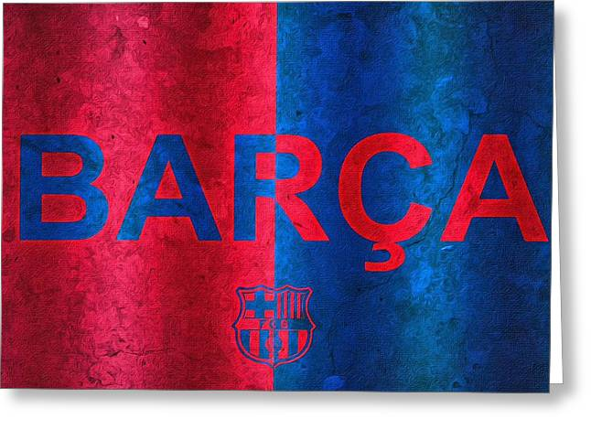 Greeting Card featuring the painting Barcelona Football Club Poster by Florian Rodarte
