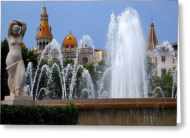 Barcelona Fountain Placa De Catalunya Greeting Card