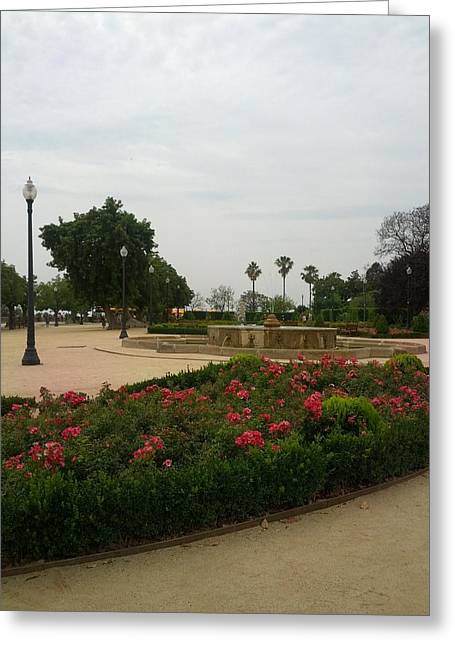 Barcelona Gardens Greeting Card by Shesh Tantry