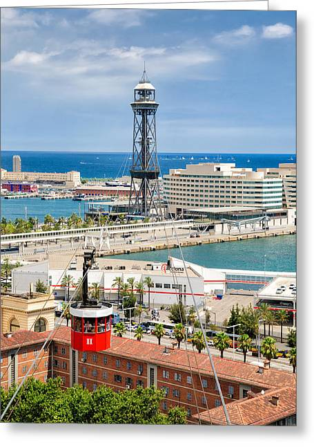 Barcelona Harbor Seen From Montjuic Hill Greeting Card