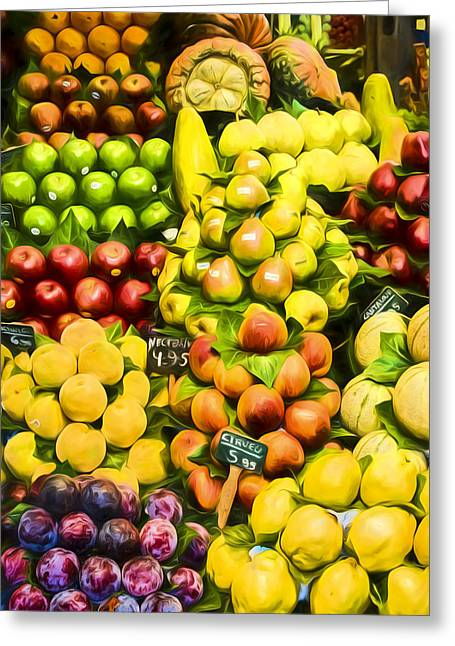 Greeting Card featuring the photograph Barcelona Market Fruit by Steven Sparks