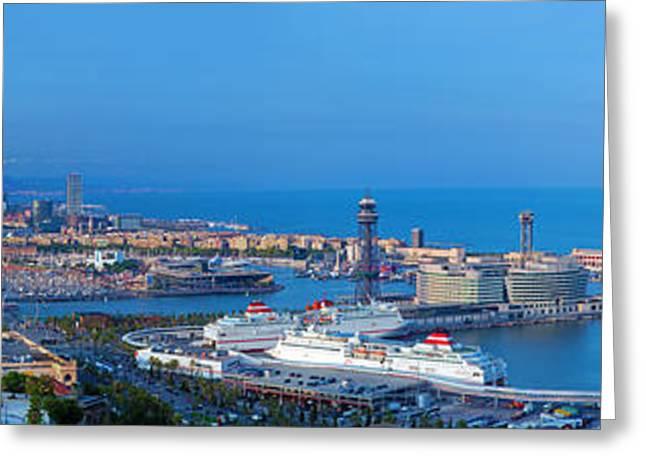 Barcelona Panorama Greeting Card by Michal Bednarek