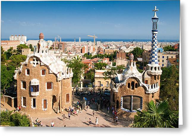 Barcelona Park Guell Antoni Gaudi Greeting Card by Matthias Hauser
