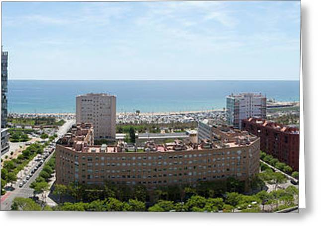 Barcelona Seafront Panorama Greeting Card by Panoramic Images