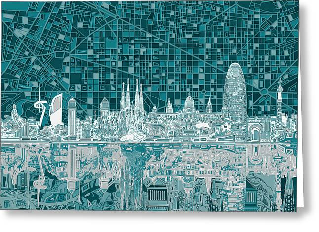 Barcelona Skyline Abstract 5 Greeting Card