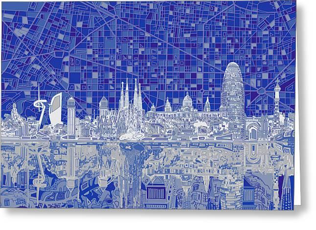 Barcelona Skyline Abstract 8 Greeting Card