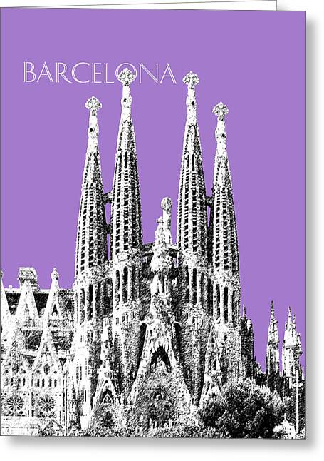 Barcelona Skyline La Sagrada Familia - Violet Greeting Card by DB Artist
