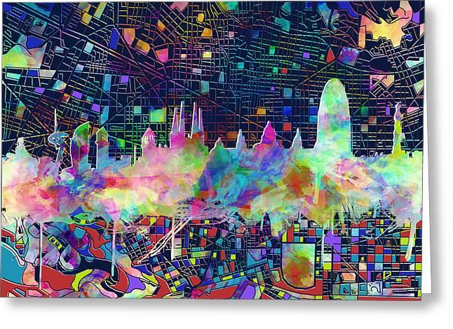 Barcelona Skyline Watecolor 3 Greeting Card
