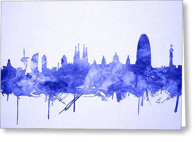 Barcelona Skyline Watecolor Greeting Card