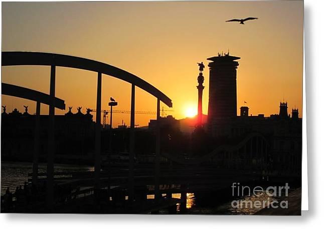 Barcelona Sunset Greeting Card