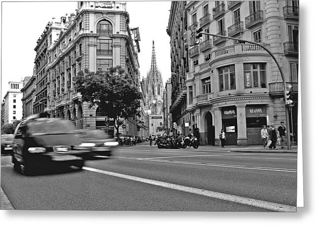 Barcelona Traffic Greeting Card by Jon Cotroneo