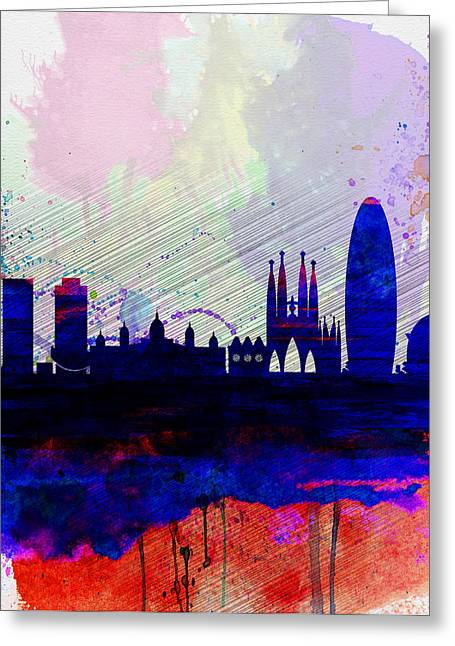 Barcelona Watercolor Skyline 2 Greeting Card by Naxart Studio