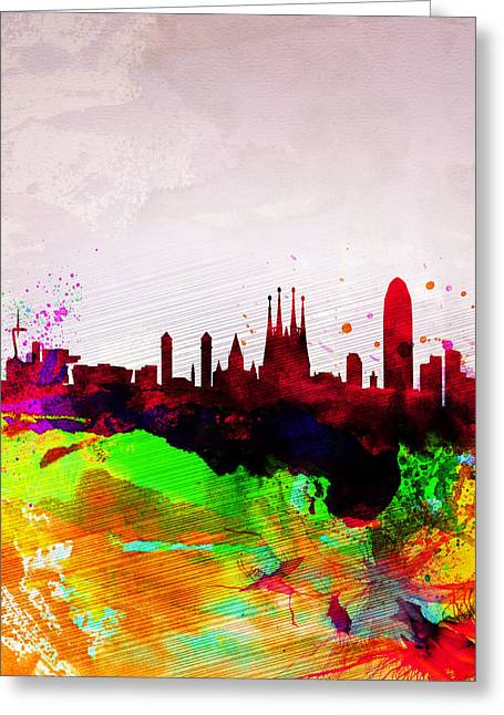 Barcelona Watercolor Skyline Greeting Card by Naxart Studio