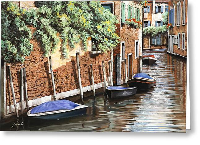 Barche A Venezia Greeting Card by Guido Borelli