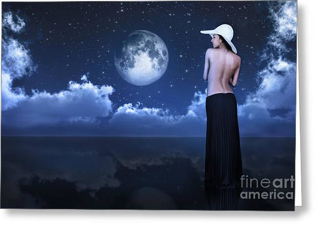 Bare Woman Looking At Moon Greeting Card by Aleksey Tugolukov