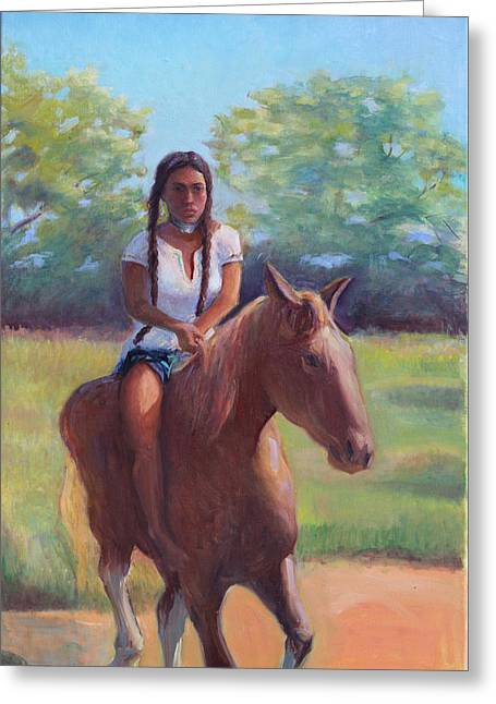 Bareback Riding Greeting Card by Gwen Carroll