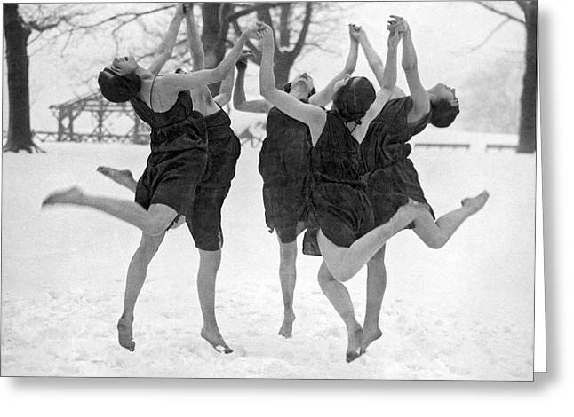 Barefoot Dance In The Snow Greeting Card by Underwood