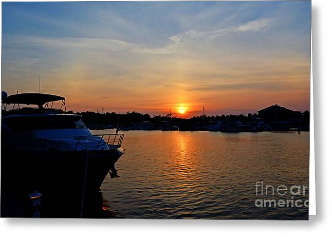 Barefoot Landing Sunset Greeting Card by Kathy Baccari