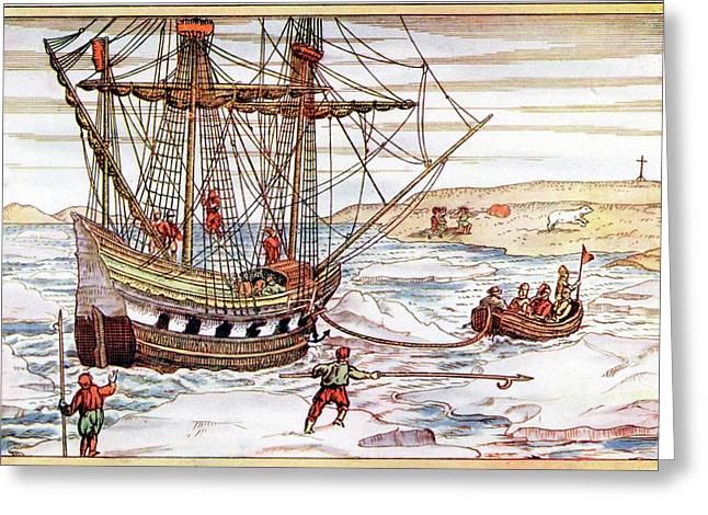 Barents' Ship Among The Arctic Ice Greeting Card