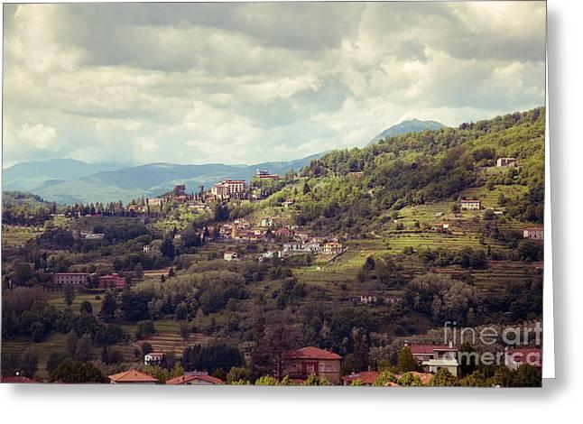 Barga In Alpi Apuane Mountains Tuscany Greeting Card
