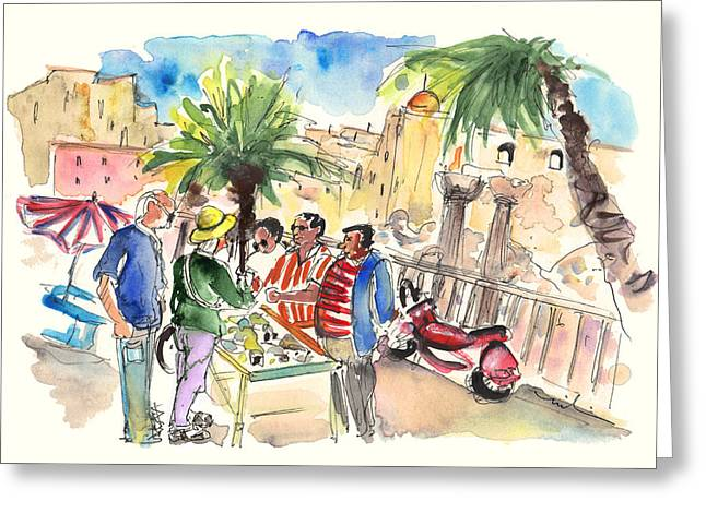 Bargaining Tourists In Siracusa Greeting Card by Miki De Goodaboom
