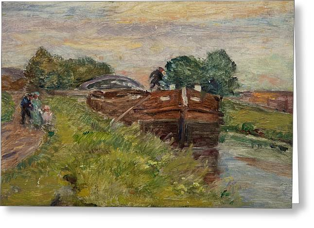 Barge And Figures Greeting Card