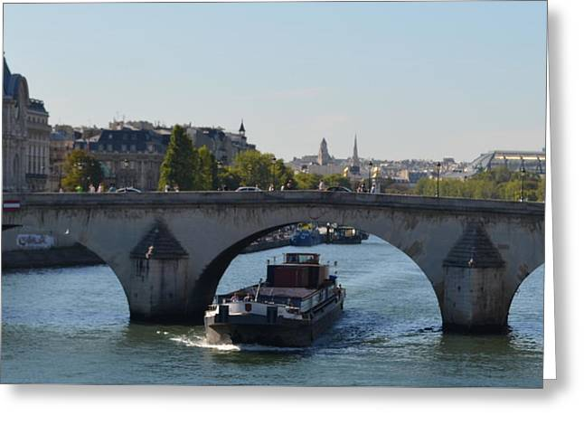 Barge On River Seine Greeting Card by Cheryl Miller