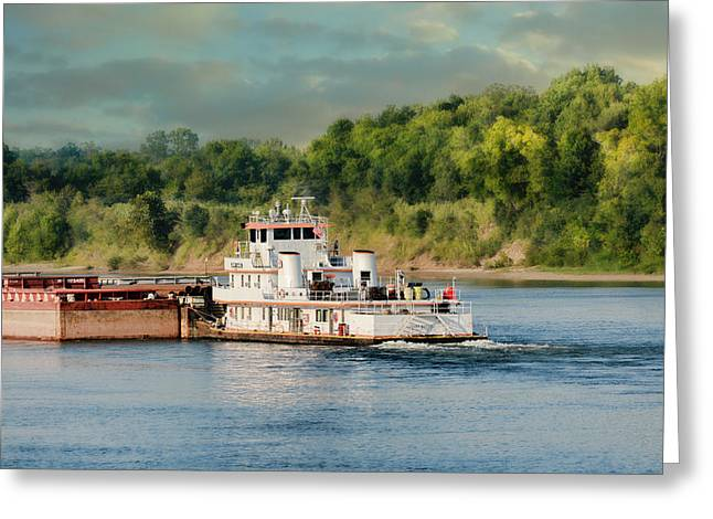 Barge On The River II - Water Scene Greeting Card by Jai Johnson