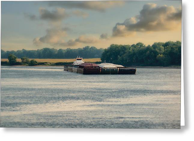 Barge On The River - Water Scene Greeting Card