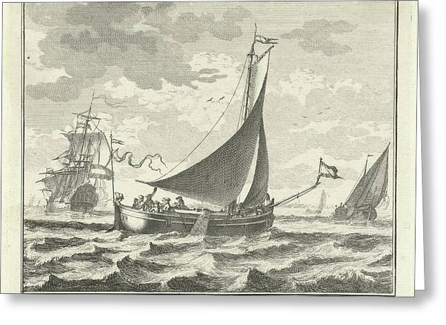 Barge On The Water, Adolf Van Der Laan Greeting Card by Quint Lox