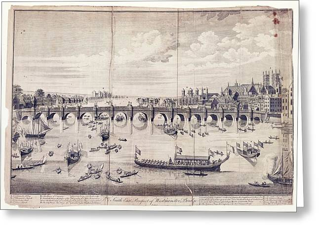 Barges At Westminster Bridge Greeting Card by Library Of Congress