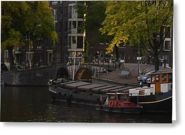 barges in Amsterdam Greeting Card