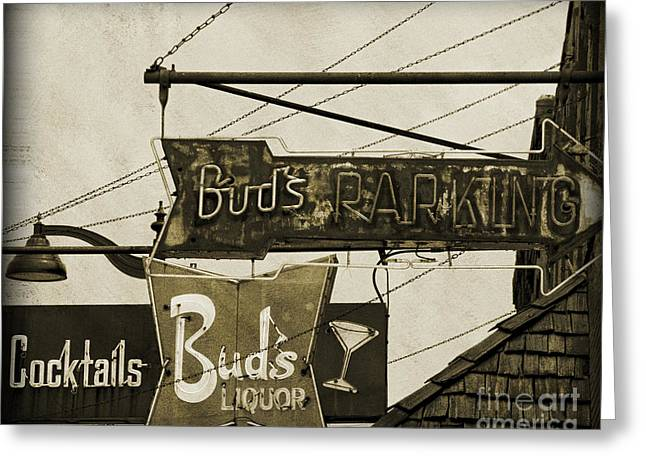 Greeting Card featuring the photograph Barhopping At Buds 2 by Lee Craig