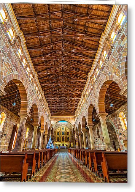 Barichara Cathedral Interior Greeting Card by Jess Kraft