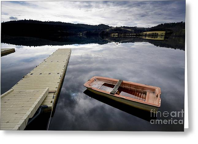 Bark On A Lake In Auvergne. France Greeting Card by Bernard Jaubert