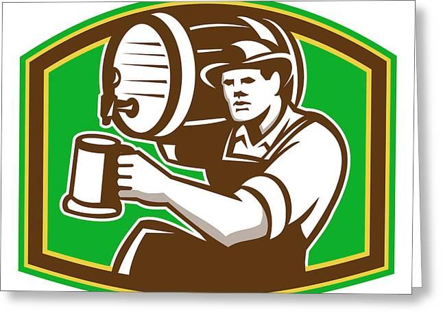 Barman Bartender Pour Beer Barrel Retro Greeting Card